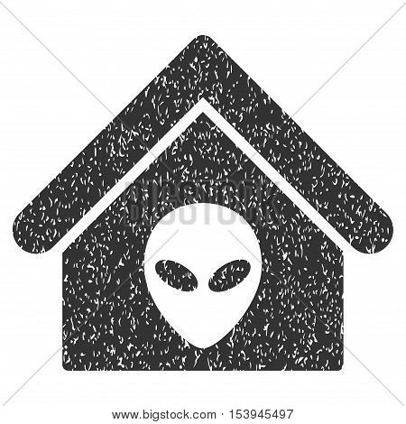 Alien Home grainy textured icon for overlay watermark stamps. Flat symbol with unclean texture. Dotted vector gray ink rubber seal stamp with grunge design on a white background.