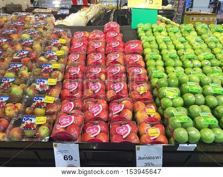 CHIANG RAI THAILAND - OCTOBER 28 : Fresh organic red and green apples in supermarket farmers market on shelves in Big C Supercenter on October 28 2016 in Chiang rai Thailand.