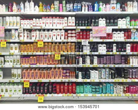CHIANG RAI THAILAND - OCTOBER 28 : various brand of shampoo bottles for sale on supermarket stand or shelf in Big C Supercenter on October 28 2016 in Chiang rai Thailand.
