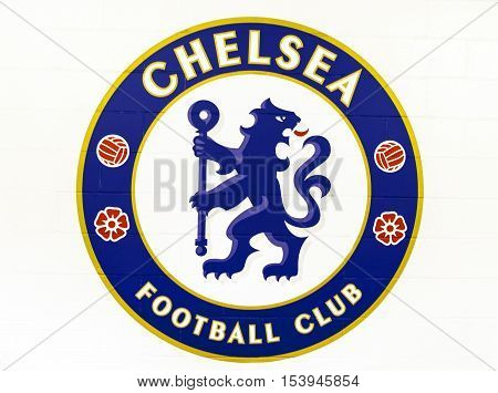 London, the UK - May 2016: The official emblem of FC Chelsea