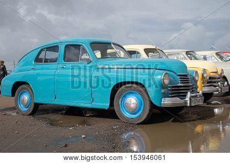 KRONSTADT, RUSSIA - SEPTEMBER 04, 2016: Soviet car GAZ M-20 at the exhibition of retro cars in Kronstadt