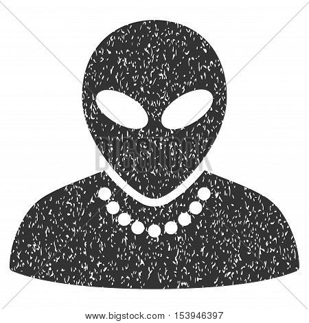 Humanoid grainy textured icon for overlay watermark stamps. Flat symbol with unclean texture. Dotted vector gray ink rubber seal stamp with grunge design on a white background.