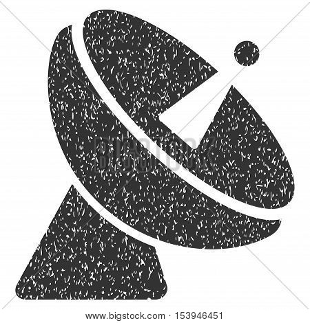 Radio Telescope grainy textured icon for overlay watermark stamps. Flat symbol with dust texture. Dotted vector gray ink rubber seal stamp with grunge design on a white background.