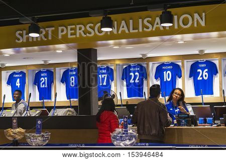 London, the UK - May 2016: Shirt personalization service in the official shop of FC Chelsea