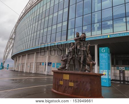 London, the UK - May 2016: Monument at Wembley arena