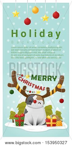 Merry Christmas Greeting banner with cat wearing reindeer costume , vector , illustration