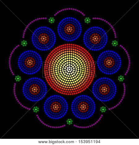 Rosette window radial dot patterns, also called Catherine or wheel window. Leadlight impression generated by single dots beginning from the center, forming circles, patterns and a rose window look.