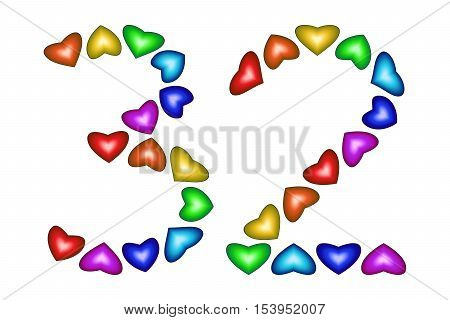 Number 32 of colorful hearts on white. Symbol for happy birthday event invitation greeting card award ceremony. Holiday anniversary sign. Multicolored icon. Thirty two in rainbow colors. Vector