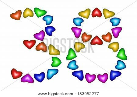 Number 38 of colorful hearts on white. Symbol for happy birthday event invitation greeting card award ceremony. Holiday anniversary sign. Multicolored icon. Thirty eight in rainbow colors. Vector