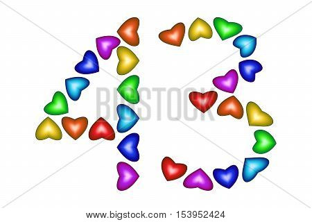 Number 43 of colorful hearts on white. Symbol for happy birthday event invitation greeting card award ceremony. Holiday anniversary sign. Multicolored icon. Forty three in rainbow colors. Vector