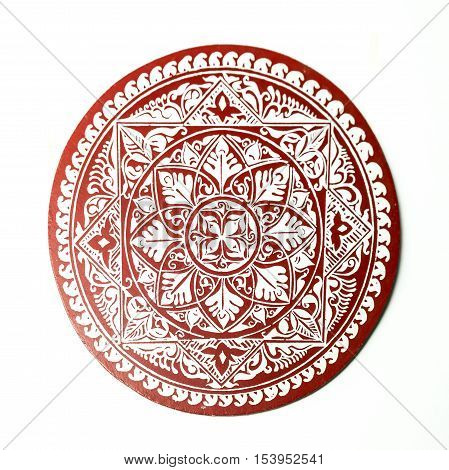 An artistic rendering of circle in red and white