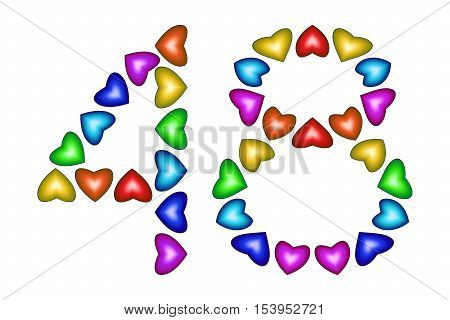 Number 48 of colorful hearts on white. Symbol for happy birthday event invitation greeting card award ceremony. Holiday anniversary sign. Multicolored icon. Forty eight in rainbow colors. Vector