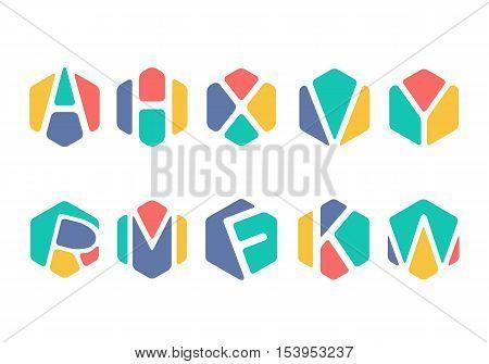 Alphabet Initial inside Hexagon concept colourful symbol