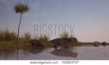 3d illustration of the lystrosauruses in water