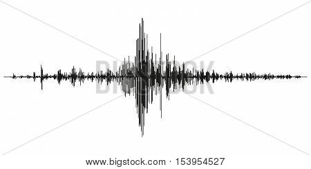 Seismogram of different seismic activity record vector illustration earthquake wave on paper fixing stereo audio wave diagram background. seismic tremors sign. Earthquake seismic activity