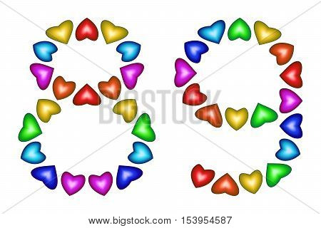 Number 89 of colorful hearts on white. Symbol for happy birthday event invitation greeting card award ceremony. Holiday anniversary sign. Multicolored icon. Eighty nine in rainbow colors. Vector