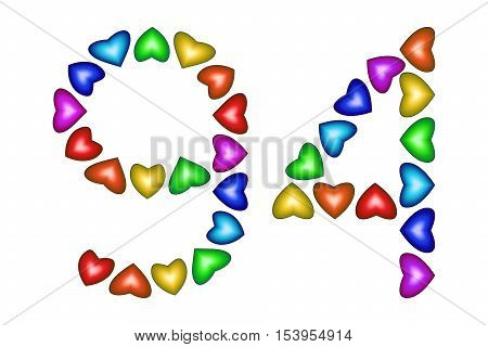 Number 94 of colorful hearts on white. Symbol for happy birthday event invitation greeting card award ceremony. Holiday anniversary sign. Multicolored icon. Ninety four in rainbow colors. Vector