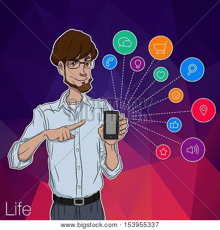 Mobile smartphone with notification. Characters with mobile app notification. Smartphone with mobile app. Characters with mobile smartphone. Man with online notification of app. Man with mobile phone