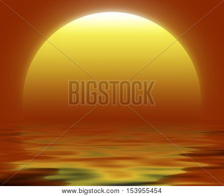 Illustration of big sun reflected in the water