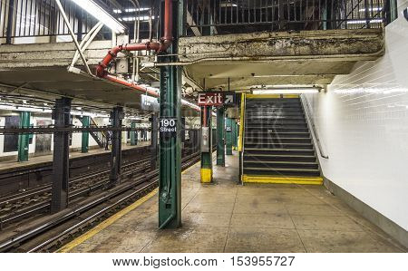 NEW YORK CITY - OCTOBER 22 2015: subway station 190 street in New York USA. The New York City Subway is the worlds largest rapid transit system by length of routes and number of stations