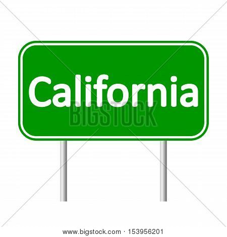 California green road sign isolated on white background