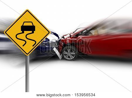 Two cars accident with a yellow sign: 3D illustration