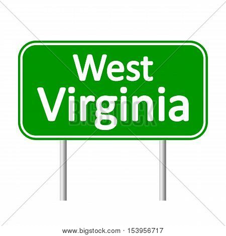 West Virginia green road sign isolated on white background