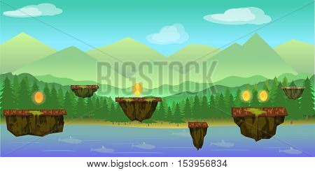 illustration of mobile app game landscape level background, elements, buttons, coins, Vector illustration for your design