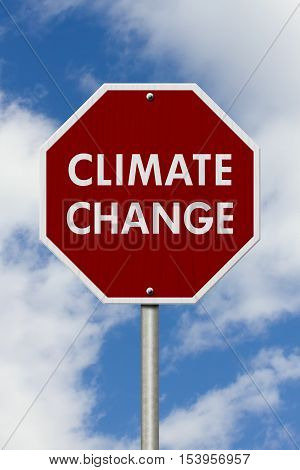 Climate change red stop highway road sign Red stop road sign with words Climate Change with sky background 3D Illustration