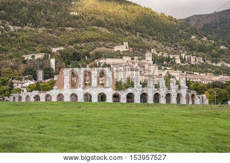 Ruins of the Roman amphitheatre near Gubbio, Italy