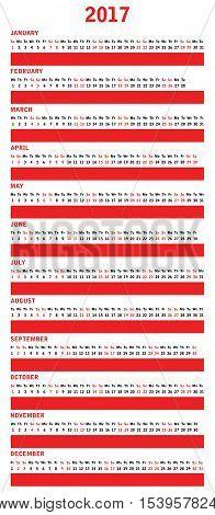 2017 year vector calendar with special design,