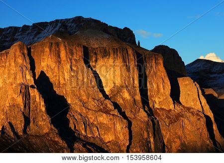 Sunset scenic image in the Dolomites, Sella Group, Italy, Europe