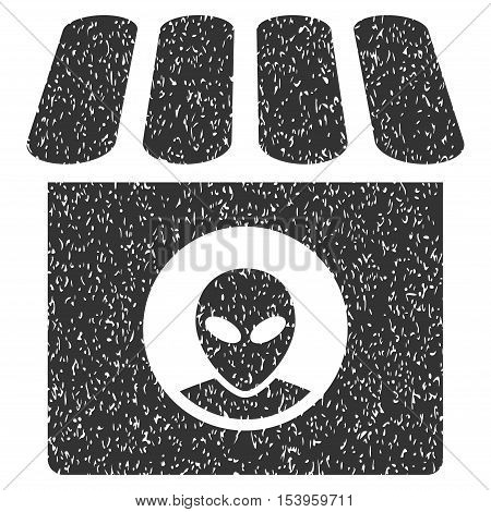 Alien Shop grainy textured icon for overlay watermark stamps. Flat symbol with unclean texture. Dotted glyph gray ink rubber seal stamp with grunge design on a white background.