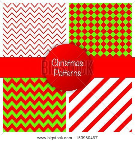 Set Of Different Christmas Simple Seamless Patterns