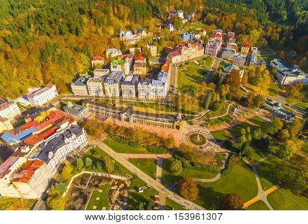 Aerial view to Marianske Lazne famous spa town near Karlovy Vary. European landmarks from above. Czech Republic, Central Europe.