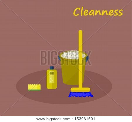 Tools for cleaning: a green bucket with soapy foam, broom with yellow handle and blue bristles and green bottle of detergent with a blue cover. Vector illustration