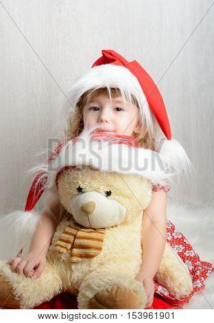 Little Girl In Santa Hat With Teddy Bear