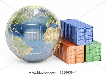 Global cargo shipping concept 3D rendering isolated on white background
