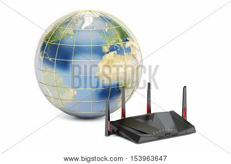 global networking connection concept earth with modern router. 3D rendering isolated on white background