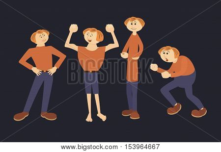 Cute man faces different emotions. Fun male characters in various poses with expressions. Cartoon comic people icon set. Sing of joy, thinking, laugh, anger, persons in movings. Vector illustration