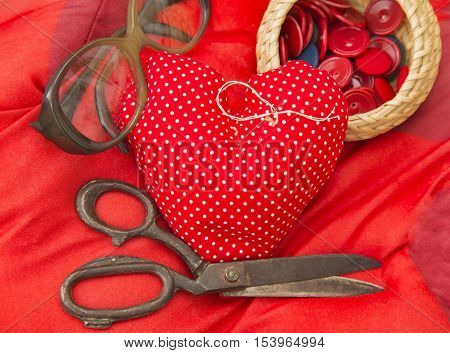 Red Heart Needle Pillow