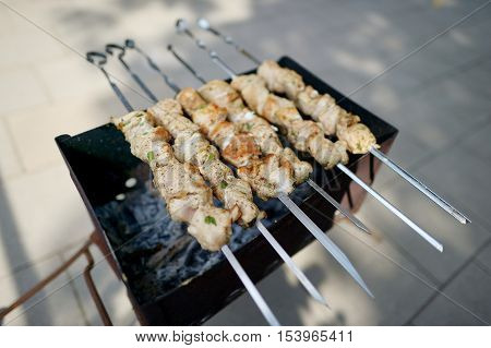 Chicken kabobs grilled on metal skewers on summer day