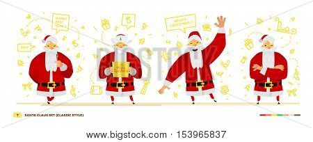 Vector illustration Santa Claus set for your design. Four old men characters. Christmas and New Year theme. Classic red apparel style