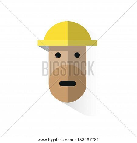 Worker's Face Icon With Helmet