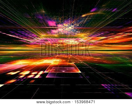 Abstract bright technology background -  computer-generated image. Fractal geometry: colourful surface, horizon and chaos neon glowing lines like flashes. Tech or virtual reality concept.