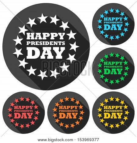 Presidents Day EPS 10 vector stock illustration icons set with long shadow