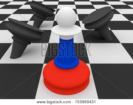 Russia Flag Pawn Defeating Black Pawns 3d illustration