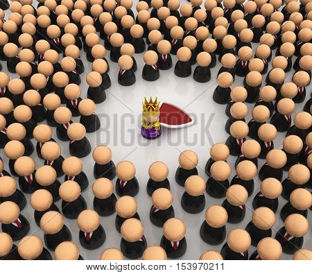 Crowd of small symbolic figures with king 3d illustration horizontal