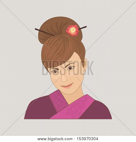 East people. Portrait of beautiful orient young woman dressed in lilac kimono. Cartoon style. Traditional japanese dress. Face isolated. Vector illustration