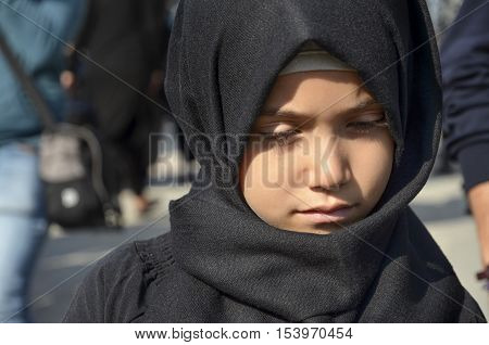 Istanbul Turkey - October 11 2016: Children takes part in an Ashura ceremony. Turkish Shia Muslims mourning for Imam Hussain. Caferis take part in a mourning procession marking the day of Ashura in Istanbul's Kucukcekmece district Turkey